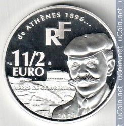 France 1,5 euro, 2003, Pierre de Coubertin, metal Silver 0.9