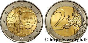 2 Euro, 2013, Pierre de Coubertin. 150ème anniversaire de la naissance de Pierre de Coubertin, 150th Anniversary of the Birth of Pierre de Coubertin, Cea de-a 150-a aniversare a nașterii lui Pierre de Coubertin.