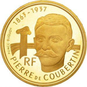 500 FF, 1991, Pierre de Coubertin, métal d'or