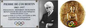 Plaque devant la maison natale de Pierre de Coubertin