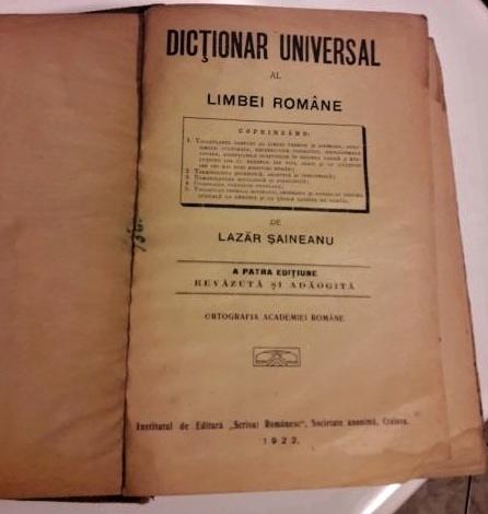 Dictionar universal al limbei române, editiunea a patra, 1922, Lazar Saineanu - foile de garda si de titlu ale cartii