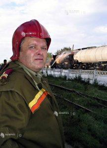 Colonel inginer Vasile Nichiforov - interventie la un incendiu pe calea ferata.