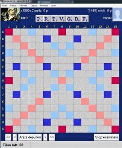 Scrabble blitz, 4 secunde, Cruella (robot) vs Maestrul Sportului Mihai Negrea-Michi, Arena Internet Scrabble Club, ISC, la 30 martie 2019. Cruella: PASS.