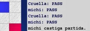 Cruella (robot) vs Maestrul Sportului Mihai Negrea-Michi, -38 la -6, Arena Internet Scrabble Club, ISC, la 30 martie 2019.  Desfasurarea partidei.