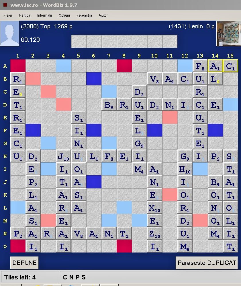 Scrabble Duplicat Joker,  Arena: Internet Scrabble Club, ISC, 13 septembrie 2019, Tabla