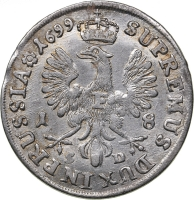 Ort german - Prusia, 1699, argint, 5, 62 g.