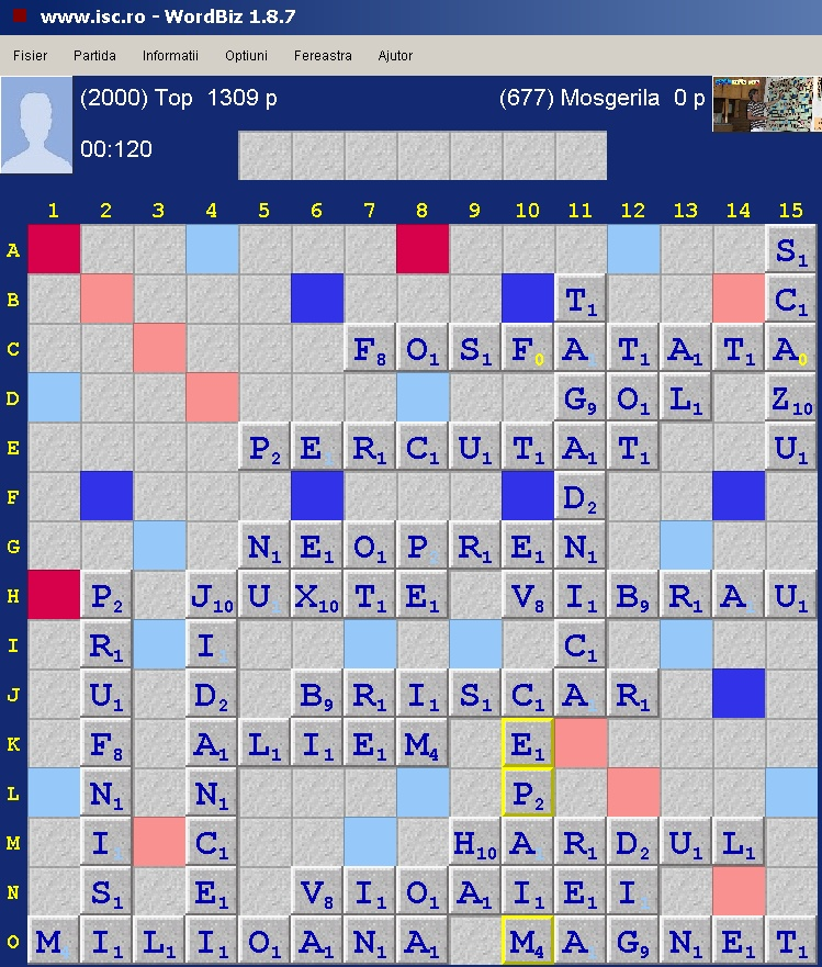 Scrabble Duplicat Joker, Internet Scrabble Club, ISC, 13 octombrie 2019
