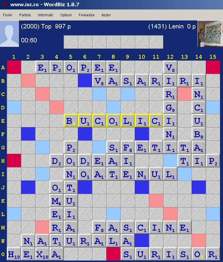 Scrabble Duplicat, Internet Scrabble Club, ISC, 18 octombrie 2019