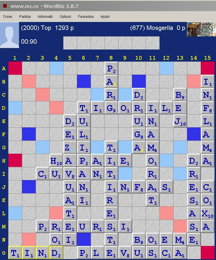 Scrabble Duplicat Jocher, Internet Scrabble Club, ISC, 25 octombrie 2019.
