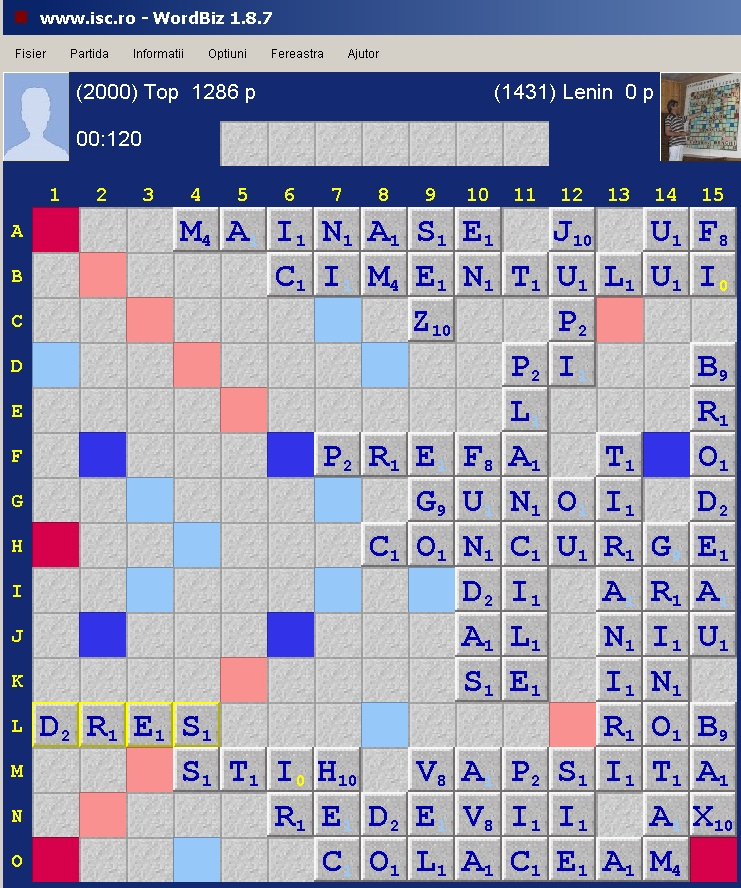 Scrabble Duplicat Joker, Internet Scrabble Club, ISC, 30 octombrie 2019