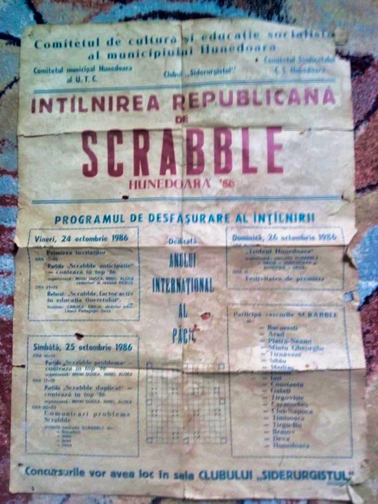 Afisul Intalniririi Republicane de Scrabble Hunedoara 1986