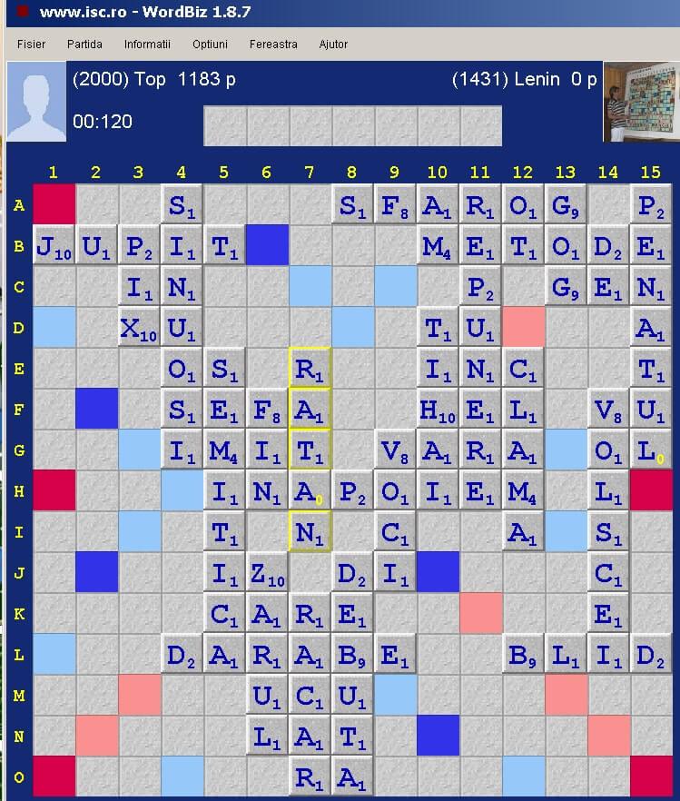 Scrabble Duplicat, Internet Scrabble Club, ISC, 1 noiembrie 2019.