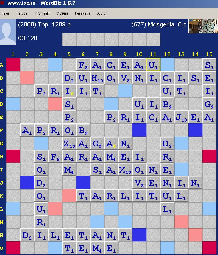 Scrabble Duplicat, Internet Scrabble Club, ISC, 29 noiembrie 2019.