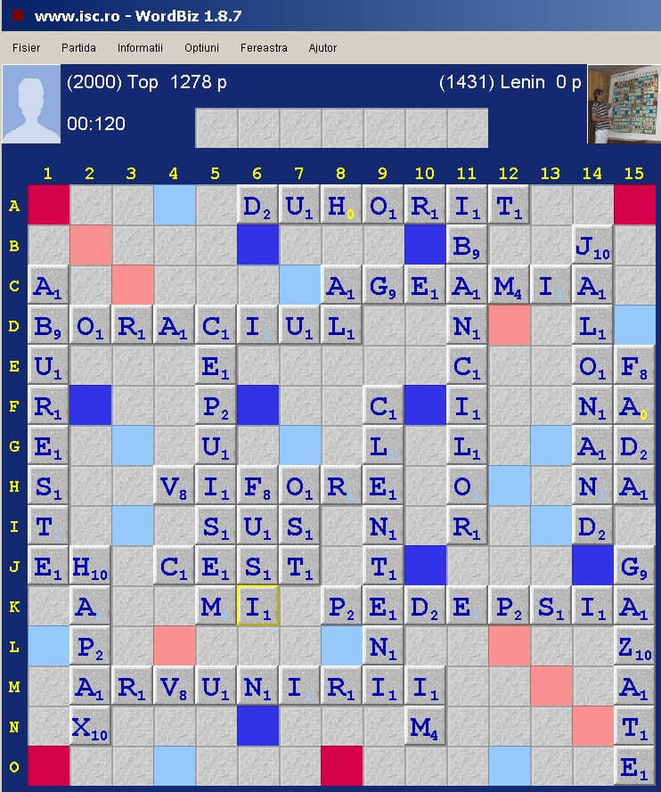 Scrabble Duplicat Joker, Internet Scrabble Club, ISC, 2 noiembrie 2019.