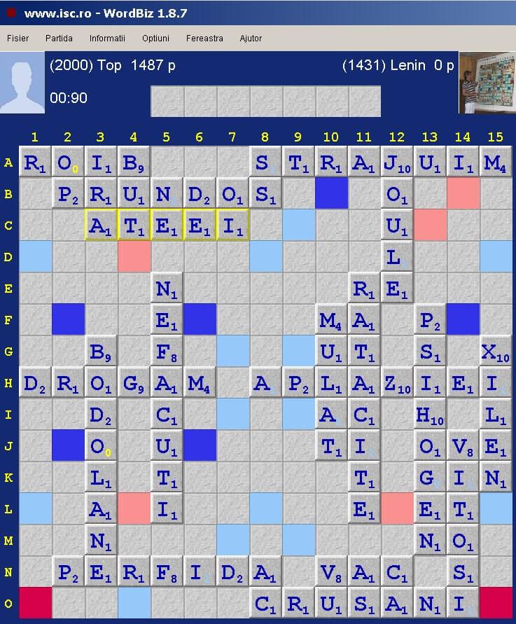 Scrabble Duplicat Joker, Internet Scrabble Club, ISC, 3 noiembrie 2019.