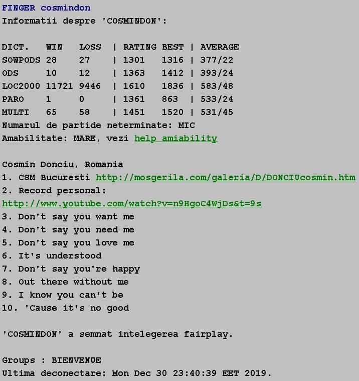 Informatii publice de la Internet Scrabble Club, ISC, despre Cosmindon