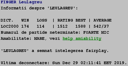 Informatii publice de la Internet Scrabble Club, ISC, despre Leulagreu