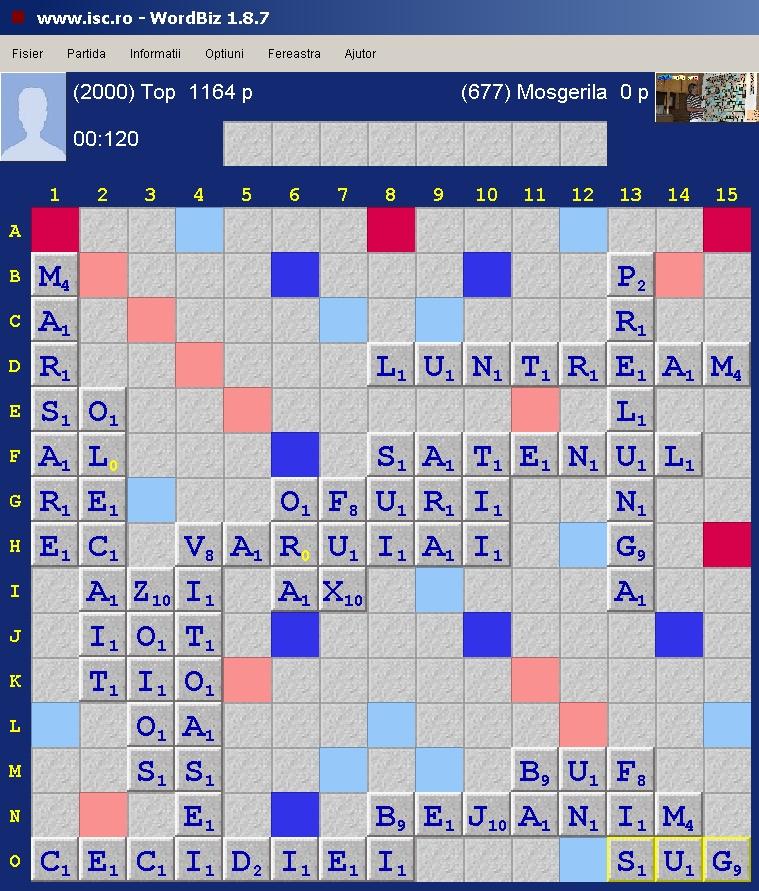 Scrabble Duplicat Eliptic, Internet Scrabble Club, ISC, 17 decembrie 2019.