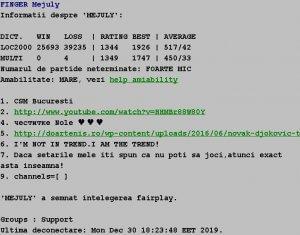 Informatii publice de la Internet Scrabble Club, ISC, despre Mejuly
