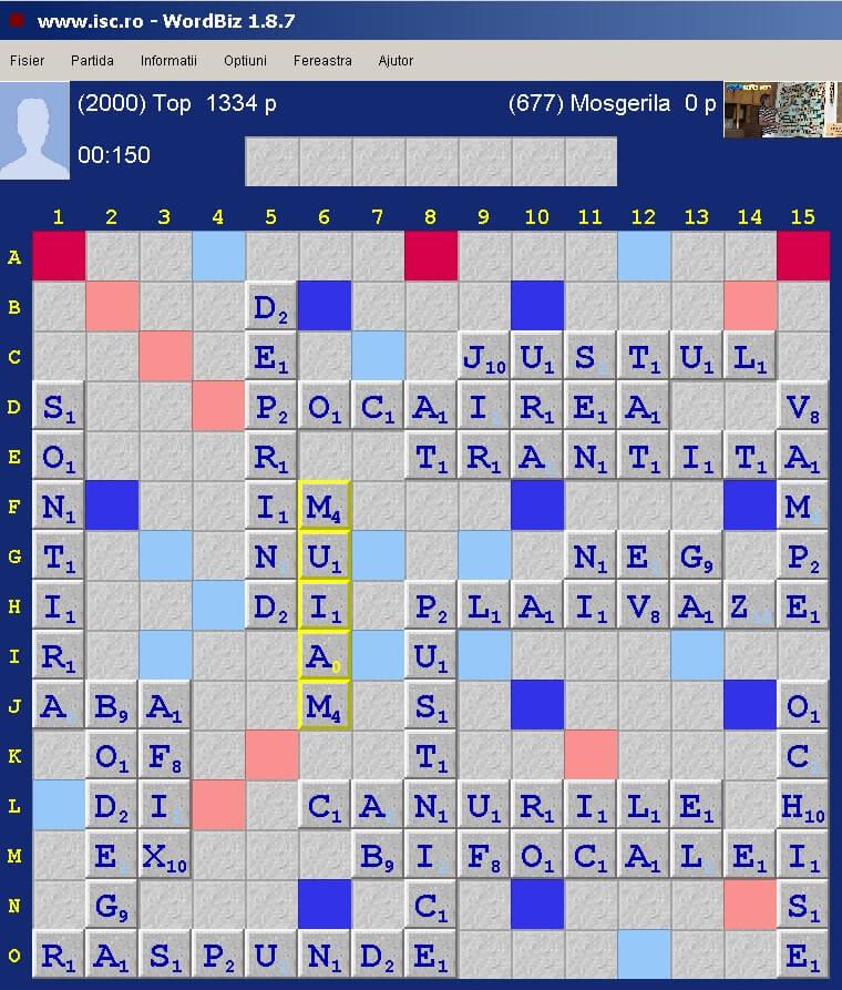 Scrabble Duplicat Joker, Internet Scrabble Club, ISC, 24 ianuarie 2020.