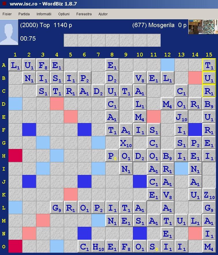 Scrabble Duplicat, Internet Scrabble Club, ISC, 25 ianuarie 2020.