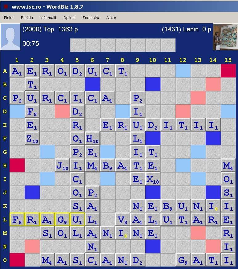 Scrabble Duplicat, Internet Scrabble Club, ISC, 7 ianuarie 2020.