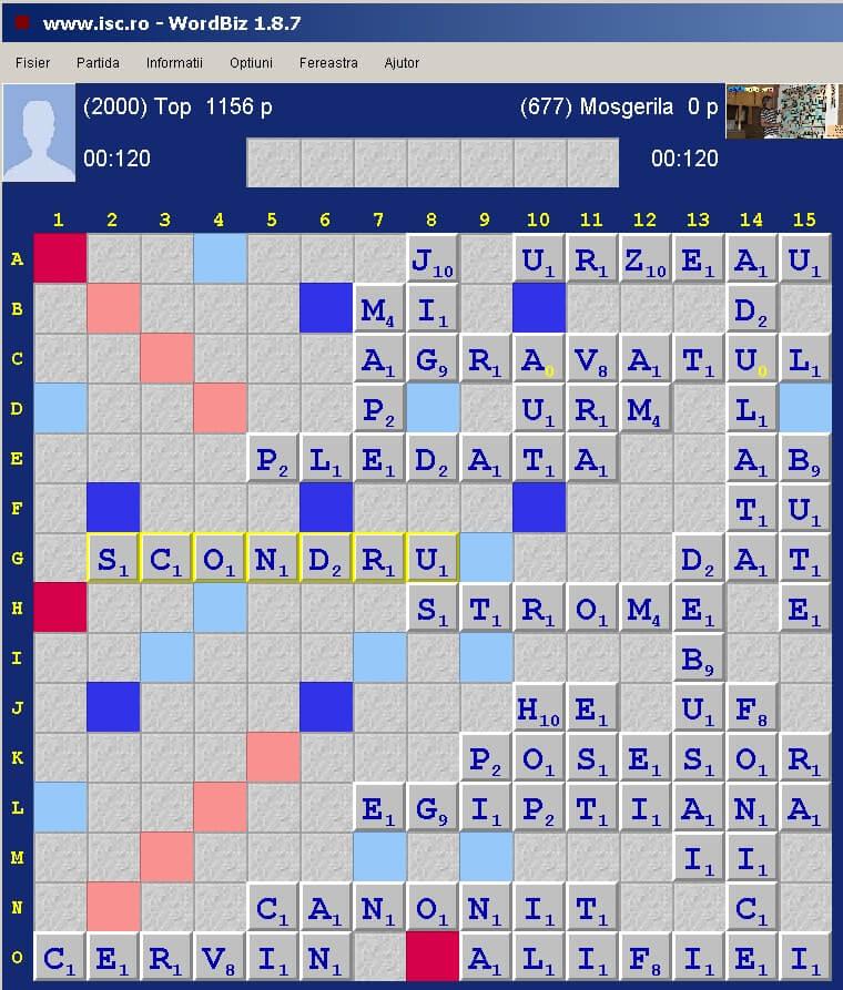 Scrabble Duplicat, nternet Scrabble Club, ISC, 16 februarie 2020.