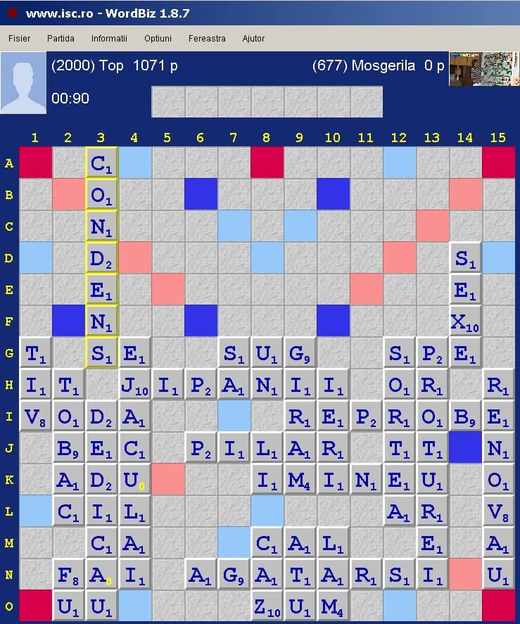 Duplicatul zilei 16 martie 2020 la Internet Scrabble Club, ISC