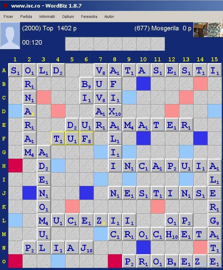 Scrabble Duplicat Blitz, Internet Scrabble Club, ISC, 25 martie 2020.