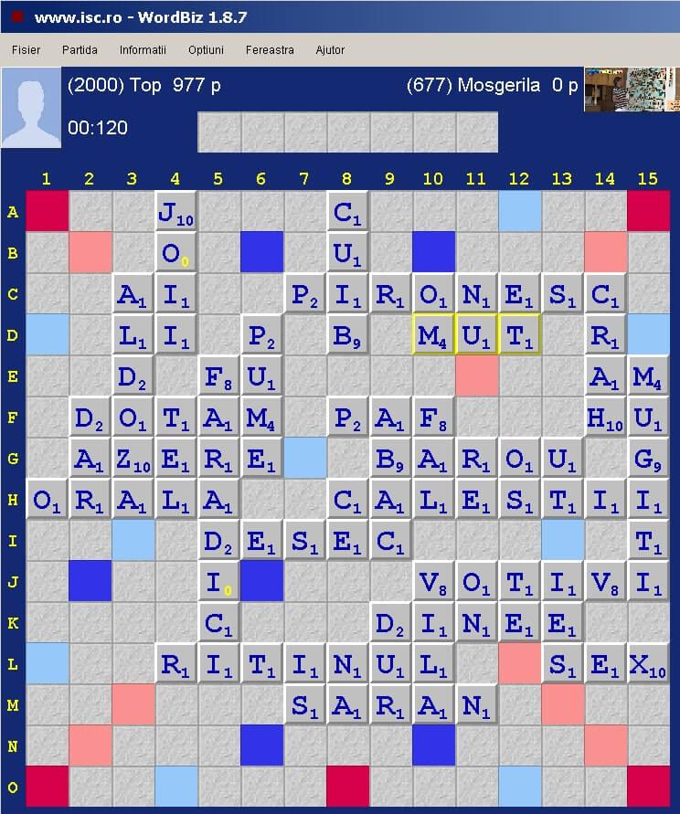 Scrabble Duplicat, Arena: Internet Scrabble Club, ISC, 26 martie 2020.