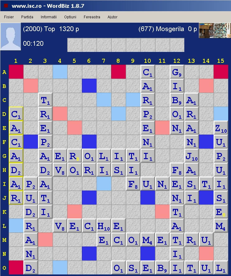 Scrabble Duplicat Eliptic, Internet Scrabble Club, ISC, 28 martie 2020.