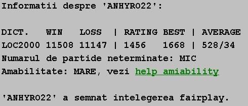 Informatii publice de la Internet Scrabble Club, ISC, despre Anhyro22