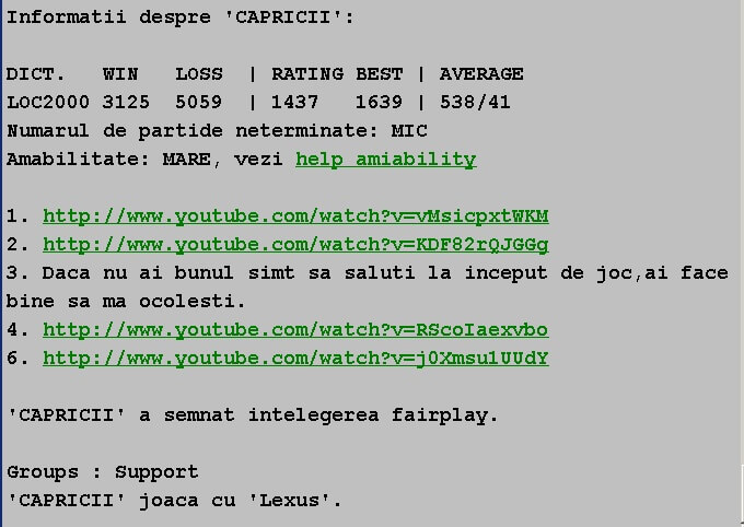 Informatii publice de la Internet Scrabble Club, ISC, despre Capricii