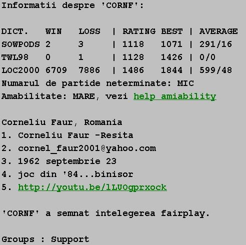 Informatii publice de la Internet Scrabble Club, ISC, despre Cornf