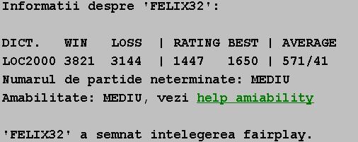 Informatii publice de la Internet Scrabble Club, ISC, despre Felix32