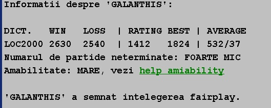 Informatii publice de la Internet Scrabble Club, ISC, despre Galanthis