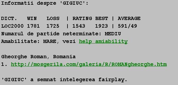 Informatii publice de la Internet Scrabble Club, ISC, despre Gigiuc