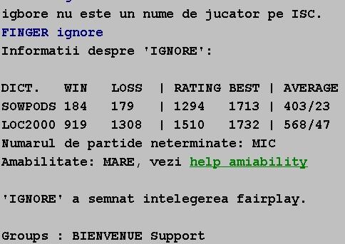 Informatii publice de la Internet Scrabble Club, ISC, despre Ignore
