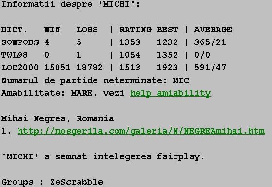 Informatii publice de la Internet Scrabble Club, ISC, despre Michi