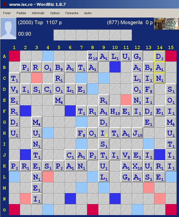 Scrabble Duplicat, Internet Scrabble Club, ISC, 9 aprile 2020