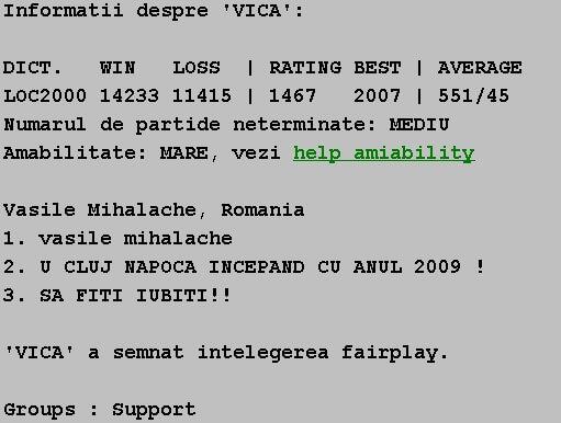 Informatii publice de la Internet Scrabble Club, ISC, despre Vica