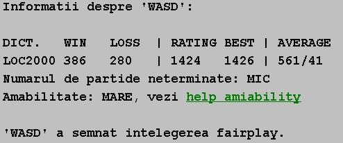 Informatii publice de la Internet Scrabble Club, ISC, despre Wasd