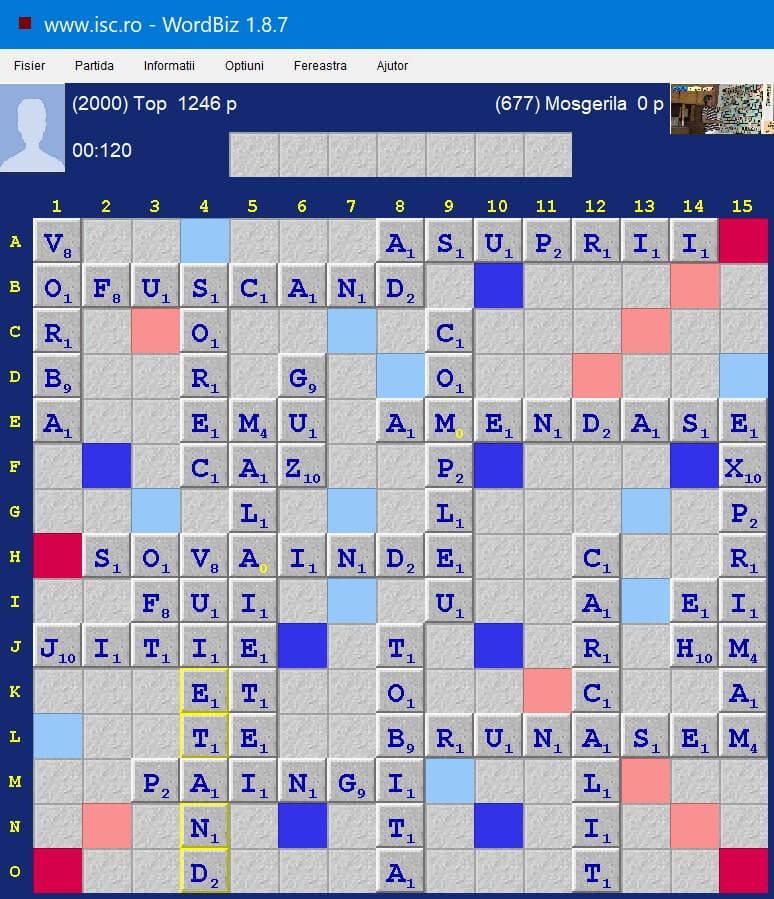 Scrabble Duplicat, Internet Scrabble Club, ISC, 24 iulie 2020