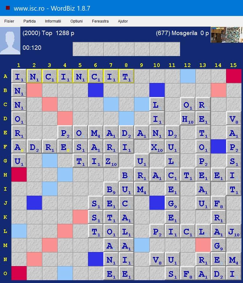 Scrabble Duplicat, Internet Scrabble Club, ISC, 26 iulie 2020.