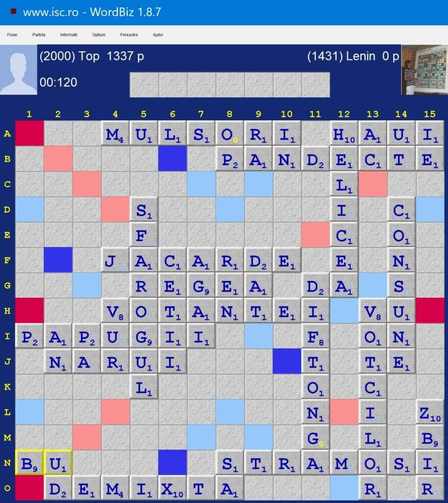 Scrabble, Duplicatul zilei 7 februarie 2021, Internet Scrabble Club, ISC