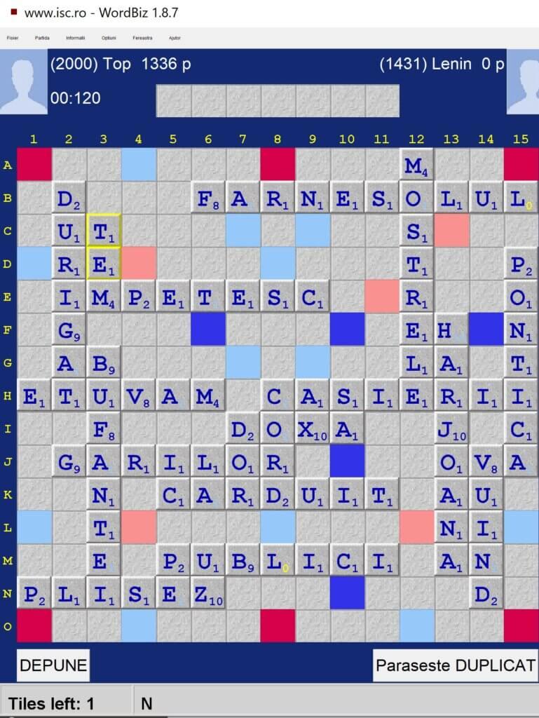Scrabble Duplicat, Internet Scrabble Club, ISC, 30 februarie 2021.