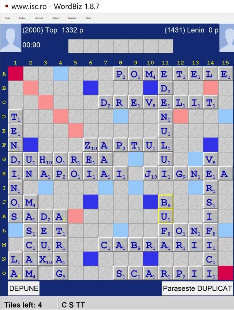 Scrabble Duplicat, Internet Scrabble Club, ISC, 15 iunie 2021.