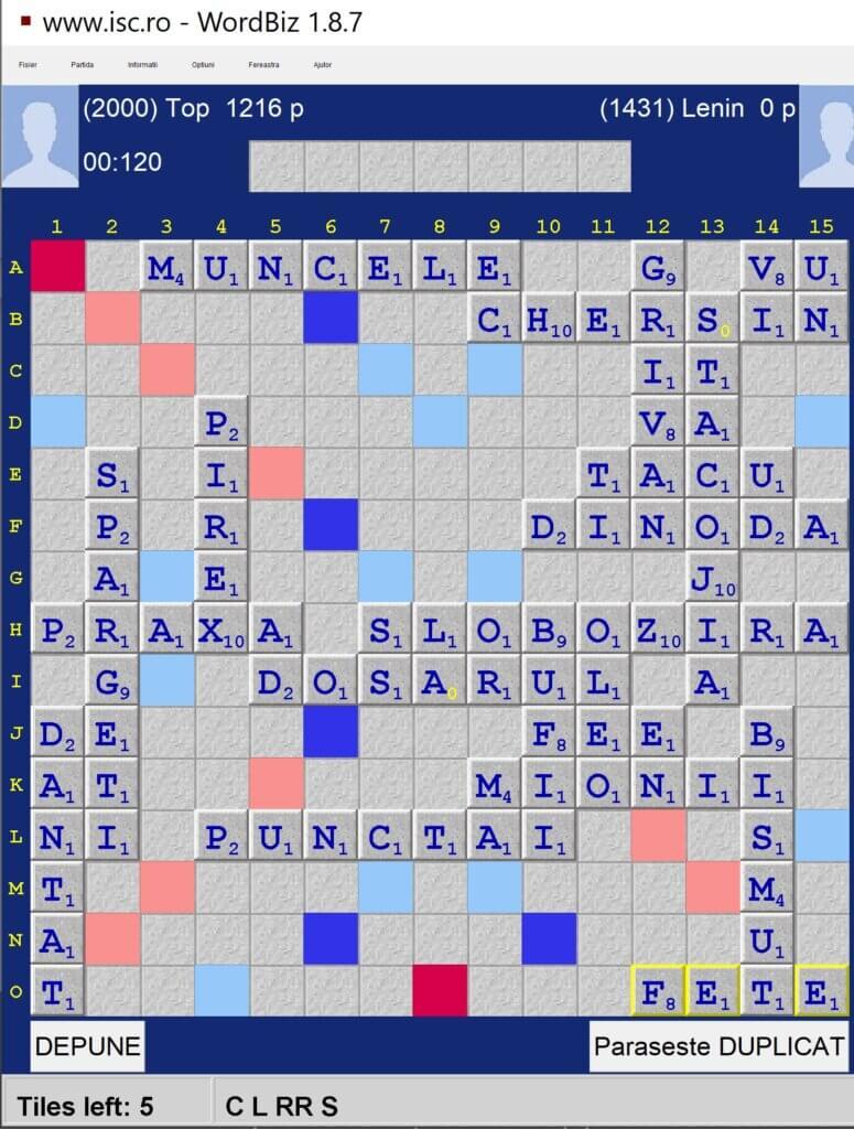 Scrabble Duplicat, Internet Scrabble Club, ISC, 11 iulie 2021